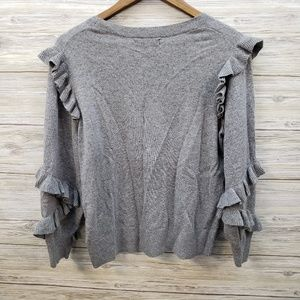 Banana Republic Sweaters - Banana Republic Gray Ruffled Sleeve Sweater